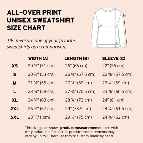 size chart all-over print unisex sweatshirt