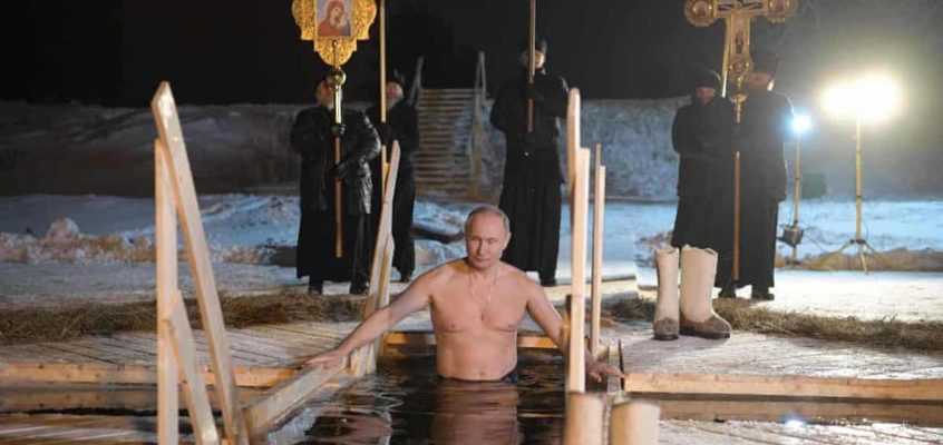 Putin in icy lake