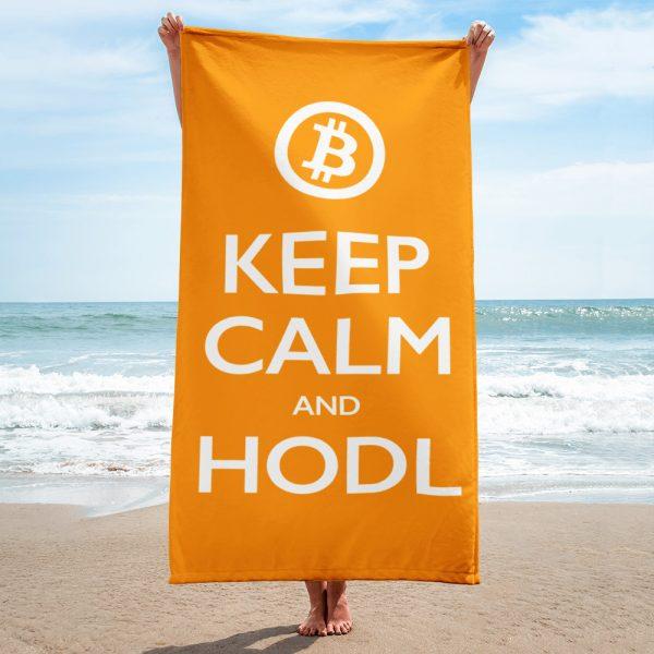 keep calm and hodl towel - bitcoin orange