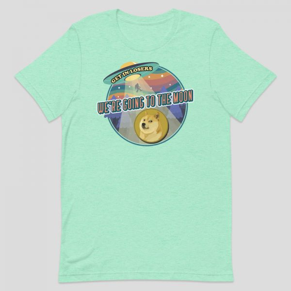 Dogecoin We're Going to the Moon Shirt - heather mint