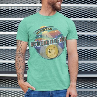 Dogecoin We're Going to the Moon Shirt - heather mint model