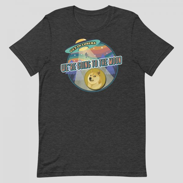 Dogecoin We're Going to the Moon Shirt - dark heather grey