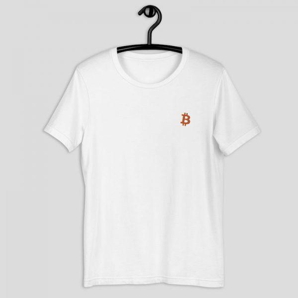 Embroidered Bitcoin Shirt - white